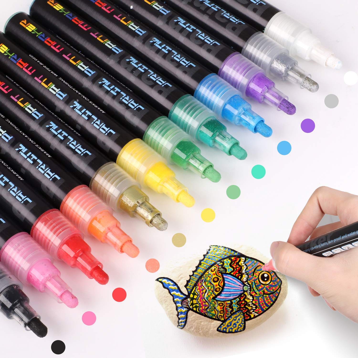 JARLINK Acrylic Paint Markers Set, 12 Colors Paint Pens for Rock Painting, Stone, Metal, Glass, Ceramic and Any Surface, Water Resistant, Quick Dry Additional 40 Chalkboard Labels
