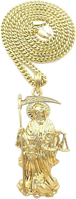 Sterling Silver Santa Muerte Pendant Necklace Our Lady of the Holy Death