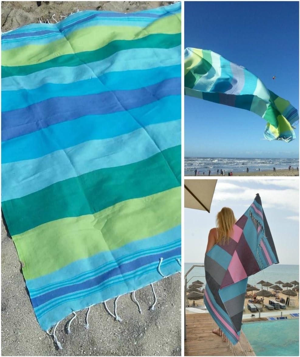 Foutas Playa Comercio Justo Toalla Hammam Muy Sauve y Ligero Negro, Rosa ZusenZomer Fouta Playa XL 100x190 Casablanca 100/% Algod/ón
