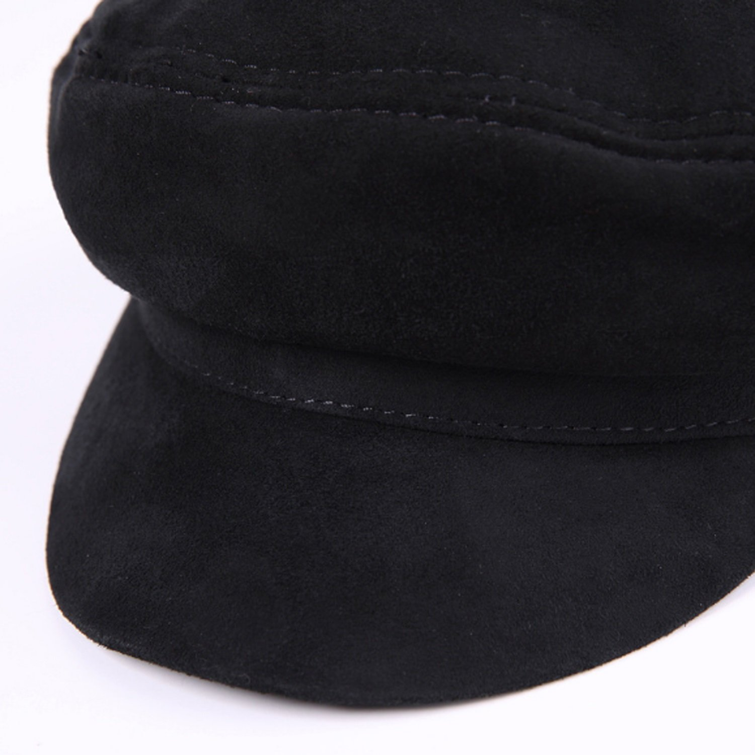 2018 Spring Fall Winter 2 Layers Cowhide Leather Hat Gender Leisure Leather Hat Flat Cap,Leisure Fashion Cap. Color : Black, Size : L Happy-L Hat