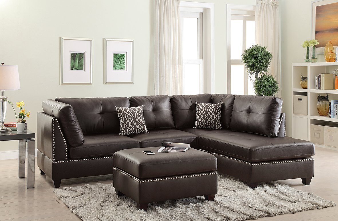 Amazon com 3pcs modern contemporary espresso bonded leather reversible sectional sofa set with ottoman for living room kitchen dining