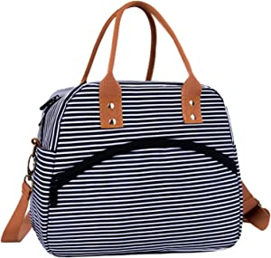 Insulated Lunch Bags for Women Men Reusable Lunch Tote Bag Cooler Bag Lunch Box with Adjustable Shoulder Strap Food Storage Container Meal Prep Organizer for Adult Work School Picnic - Black Stripe