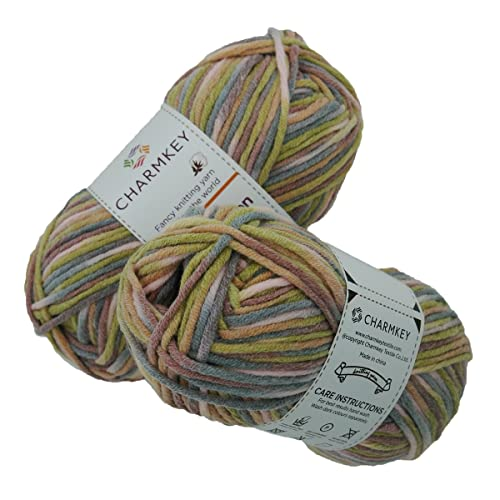 Charmkey Baby Cotton Yarn Simply Soft Boutique 4 Ply Medium Acrylic Blended Worsted Dungarees Knitting Yarn for Spring Summer Wear