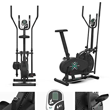 We R Sports 2-in-1 - Bicicletas estáticas (cross trainer, tensiómetro, compacto) , color negro: Amazon.es: Deportes y aire libre