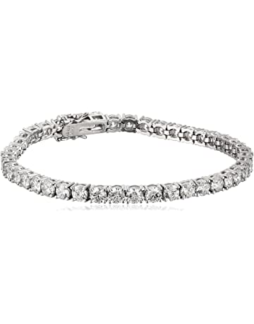 8da80931e Plated Sterling Silver Round-Cut Tennis Bracelet made with Swarovski  Zirconia
