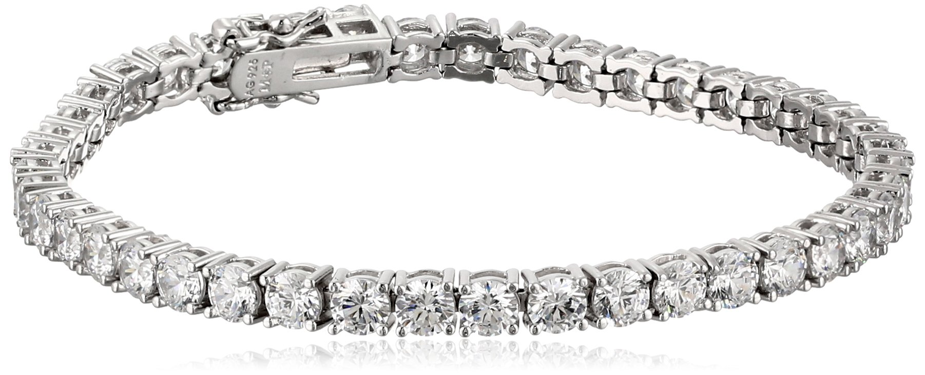 Amazon Collection Platinum Plated Sterling Silver Tennis Bracelet set with Round Cut Swarovski Zirconia (16.77 cttw), 7.25''
