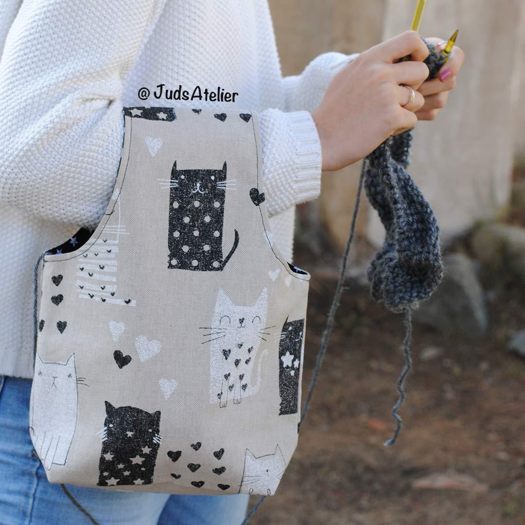 Bolsa para tejedoras con estampado de gatos by JudsAtelier ...