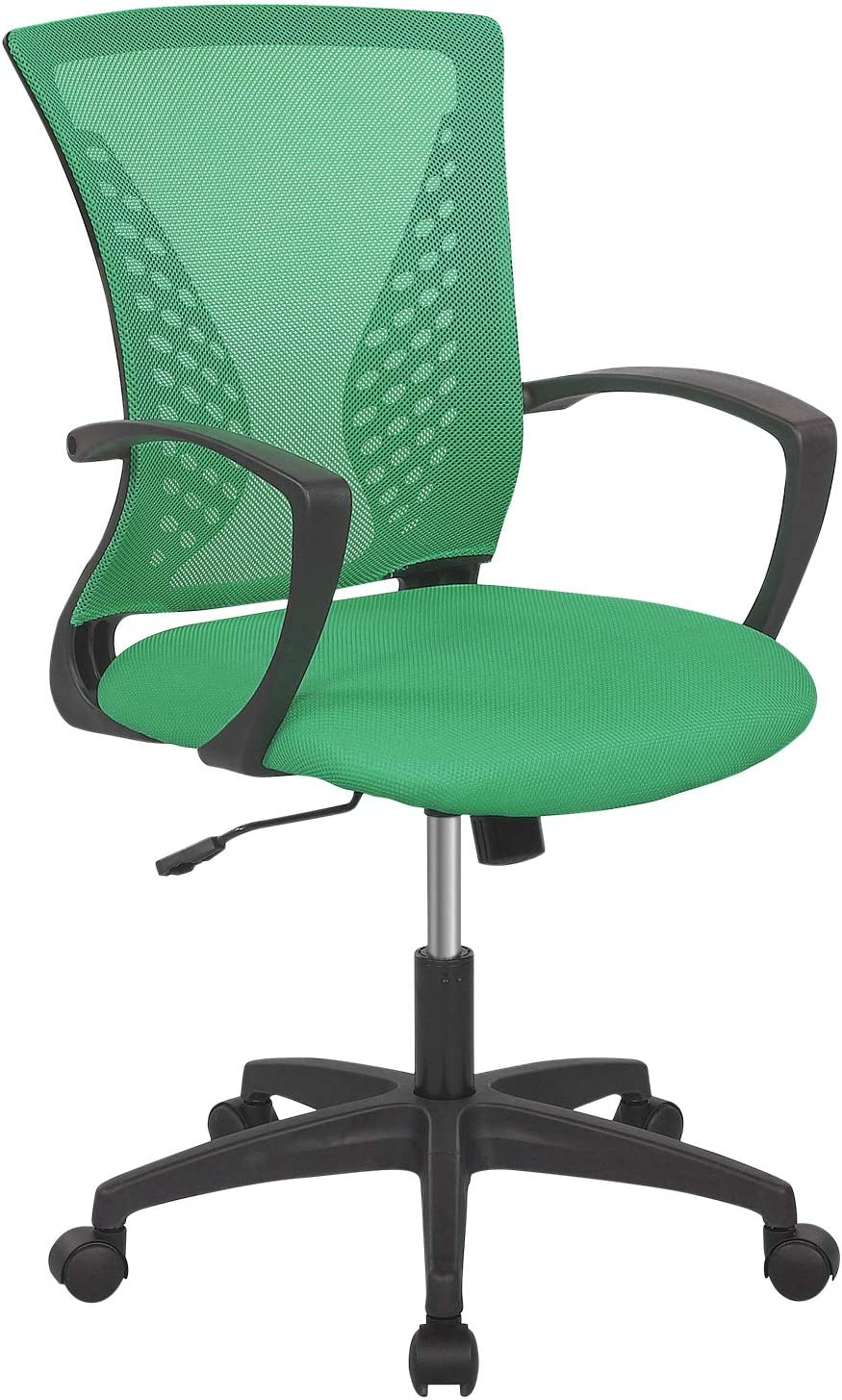 Home Office Chair Ergonomic Desk Chair Mesh Computer Chair with Lumbar Support Armrest Rolling Swivel Adjustable Mid Back Task Chair for Adults(Green)