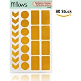 Millows Reflektoren Aufkleber Sticker (30 Stück) I Reflekoren Set für Kinderwagen, Fahrrad, Helm und Schulranzen I selbstklebende hochreflektierende Leuchtaufkleber