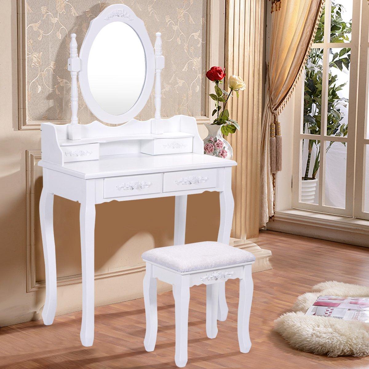 Blitzzauber 24 Coiffeuse + Tabouret avec Miroir Table de Maquillage Chambre 4 tiroirs Blanc MDF