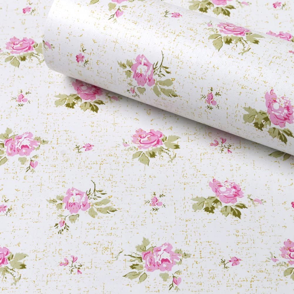 SimpleLife4U Pink Rose Contact Paper Removable Shelf Liner for Kitchen Cabinet Dresser Drawer Covering