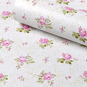 SimpleLife4U Pink Rose Contact Paper Removable Shelf Liner for Kitchen Cabinet Dresser Drawer Covering