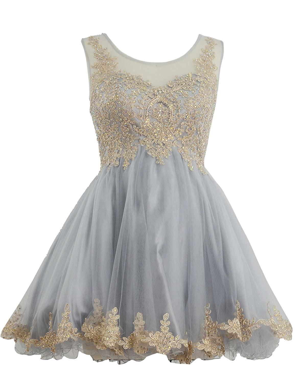 Clearbridal Women's Tulle Short Prom Party Dress Vintage Applique Sleeveless Bridesmaid Dress SD365