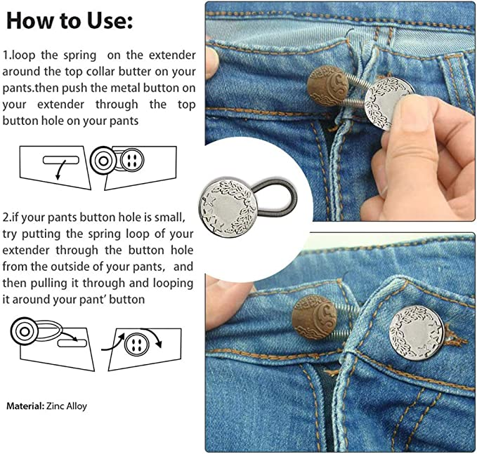 Bouton en Metal avec Sangle Jeans Taille Extension DIY Jupe Jean Pantalon