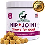 Genuine Naturals Glucosamine Chondroitin, MSM, Organic Turmeric Soft Chews, Hip and Joint Supplement for Dogs, Supports…