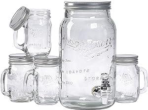 Mason Craft & More Drinkware Collection- Durable Glass Leak Proof Beverage Glassware, 5 Piece Drinkware Set
