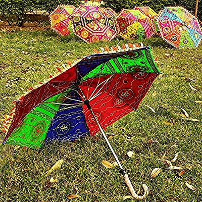 bf30804ab153 Worldoftextile 5 Piece Cotton Sun Parasols Vintage Women Umbrella ...