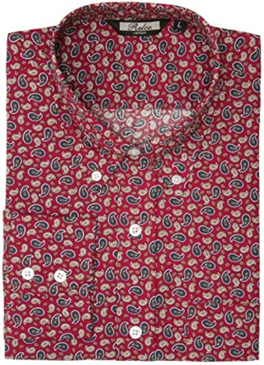 Relco Hombre Motivo Cachemira Manga Larga Vintage Mod Camisa: Amazon.es: Ropa y accesorios
