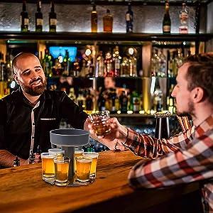Goodsok 6 Shot Glass Dispenser and Holder with 6 Small Cups for Filling Liquids | Cocktail Dispenser, Bar Shot Dispense, Carrier Liquor Dispenser | (Gray)