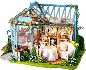 Fsolis DIY Dollhouse Miniature Kit with Furniture, 3D Wooden Miniature House with Dust Cover and Music Movement, Miniature Dolls House Kit