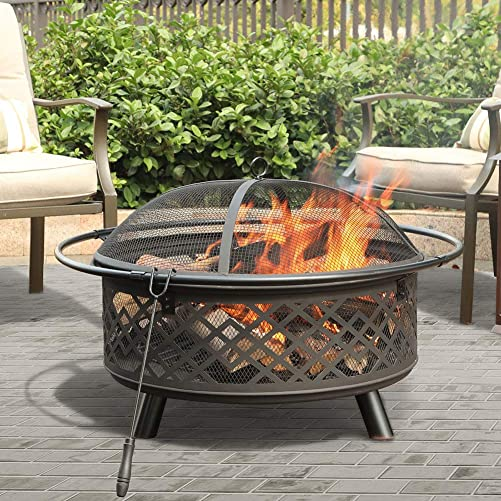 PHI VILLA 32 Fire Pit Large Steel Patio Fireplace Cutouts Pattern with Poker Spark Screen
