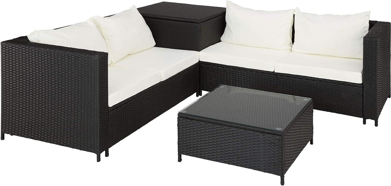 TecTake 800678 Conjunto de Muebles de Jardín de Ratán, 2 Sofás 1 Mesa 1 Caja de Almacenamiento, Incluye Tornillos de Acero Inoxidable (Negro | No. 403071)