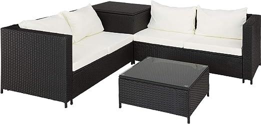 TecTake 800678 Conjunto de Muebles de Jardín de Ratán, 2 Sofás 1 Mesa 1 Caja de Almacenamiento, Incluye Tornillos de Acero Inoxidable (Negro | No. 403071): Amazon.es: Jardín