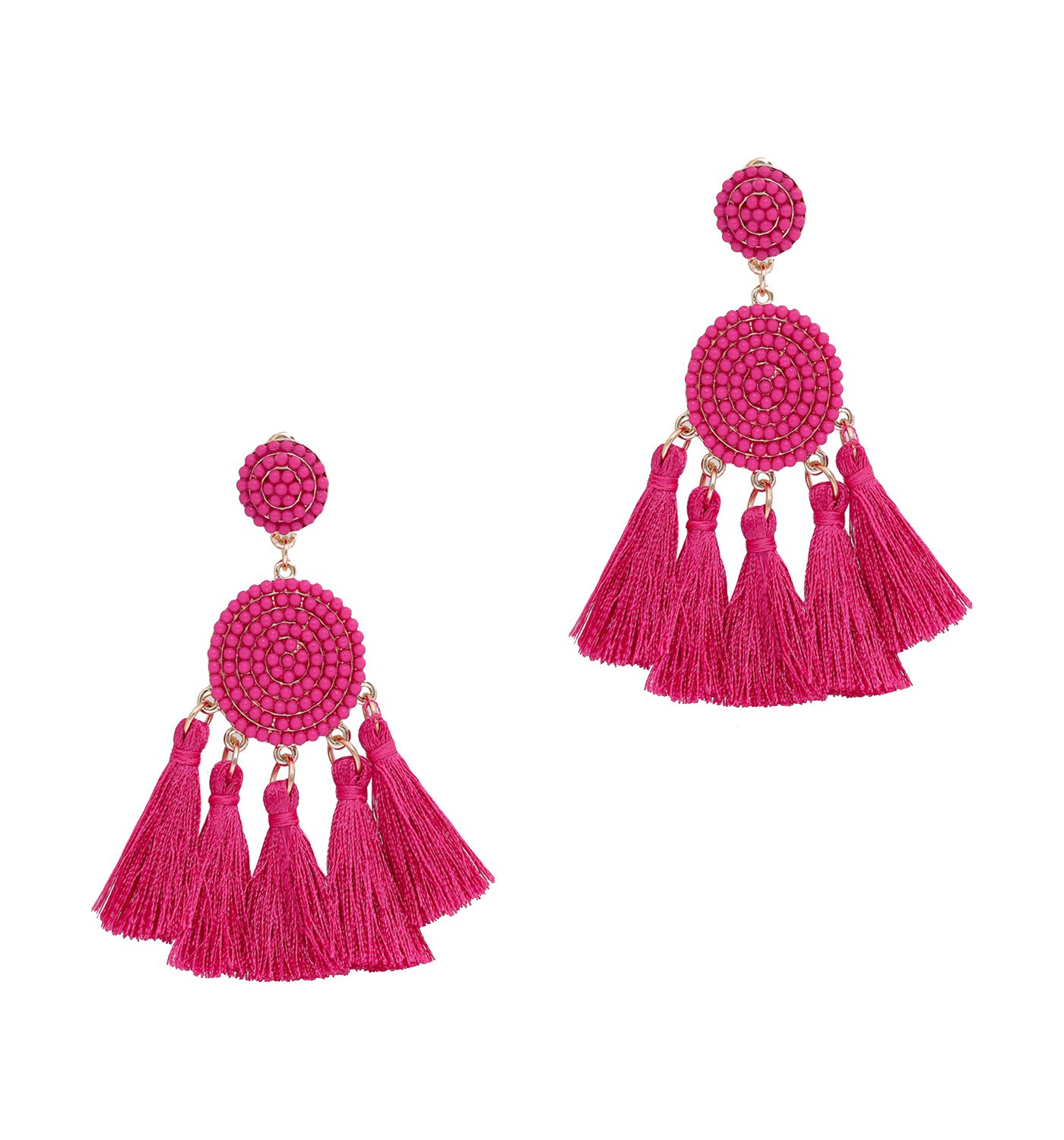 Women's Dangle Earrings Bohemian Fringe Tassel Earrings Statement Beaded Drop Earrings Soiree Jewelry (Hot pink)