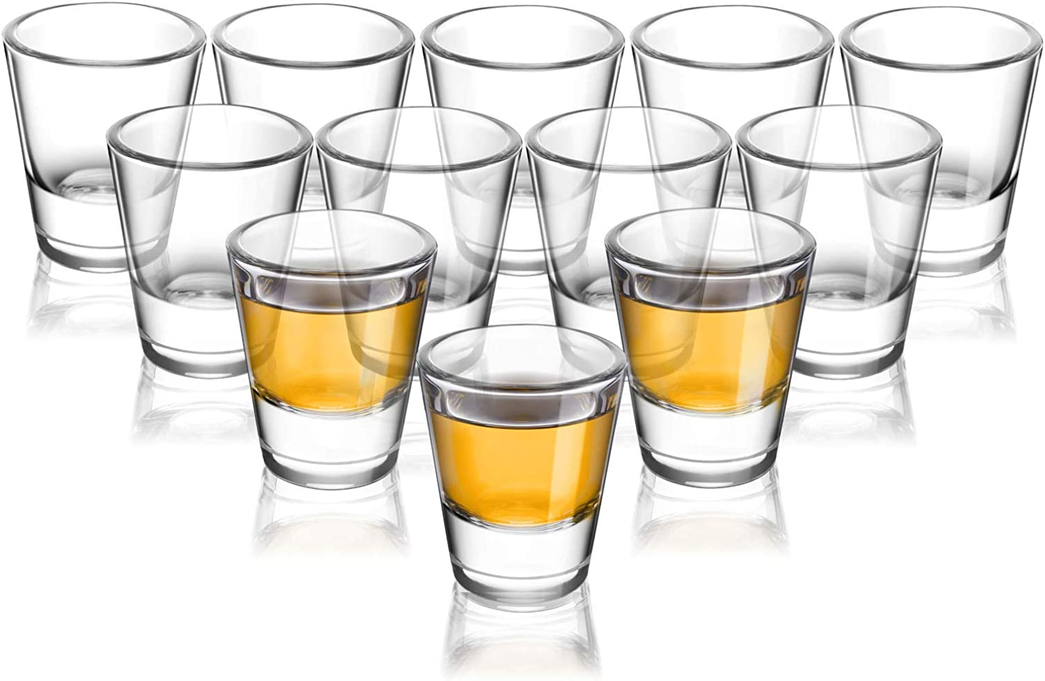 ELIVIA Shot Glass Set with Heavy Base, 1.2 oz Clear Glasses for Whiskey and Liqueurs (6 pack) - JM01