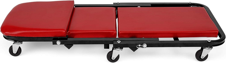 TRESKO/® Camilla de Montaje de Resistente Metal Rojo Plataforma M/óvil con 6 Ruedas con Capacidad de Giro de 360/° Ideal para Trabajos Mec/ánicos Tapizado Continuo con Reposacabezas