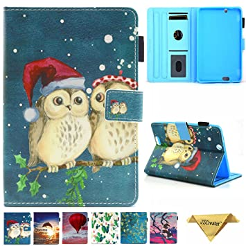 the best attitude 7b614 80fca Kindle Fire HDX 7 Case, JZCreater Folio PU Leather Smart Case Cover for  Amazon Kindle Fire HDX 7.0 Inch 3rd Generation Tablet, Cute Owl