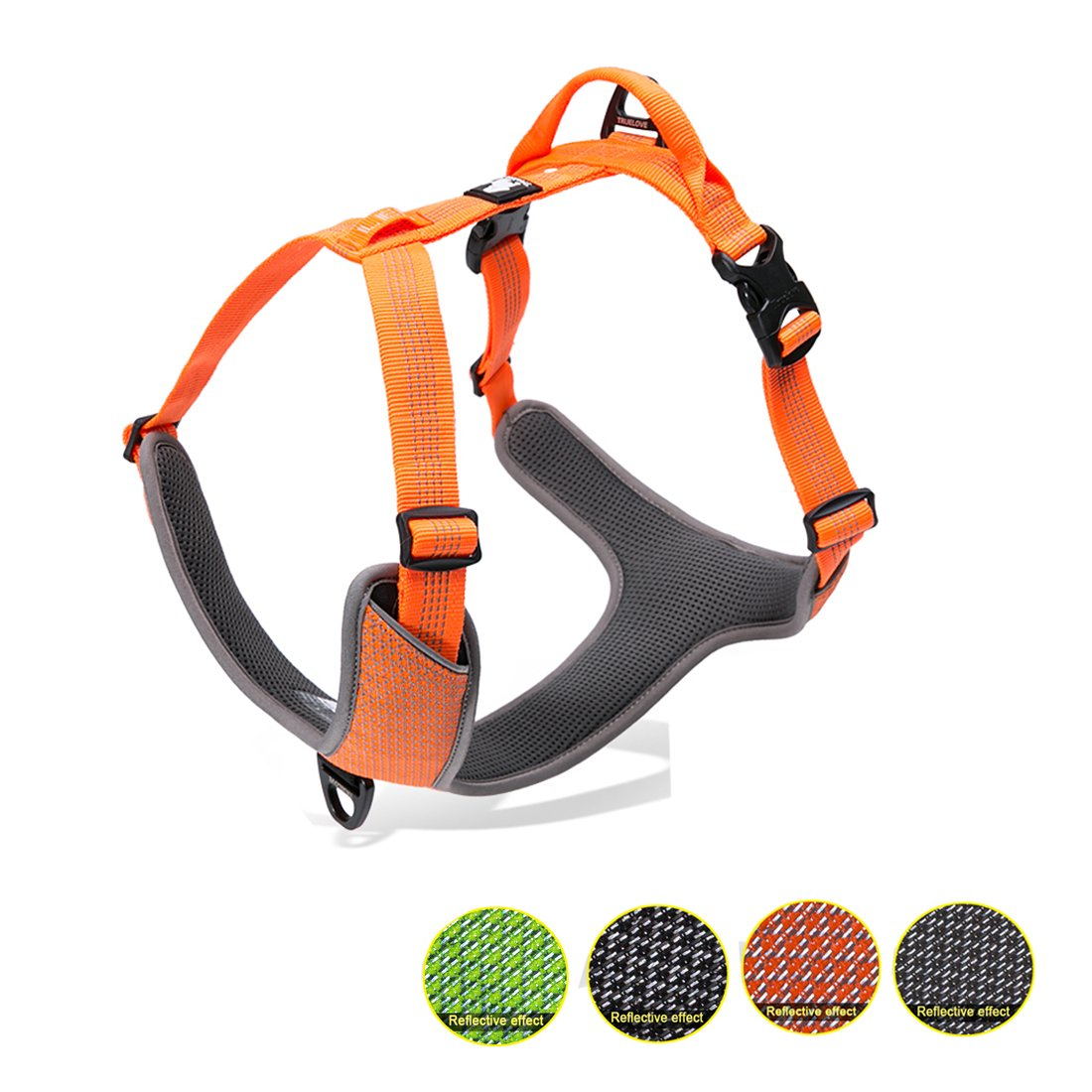 Kaka mall Dogs Vest Harness Front and Back Leading No Pull Padded 3M Reflective for Large Dogs for Outdoor Travel Walking Camping (orange, L)