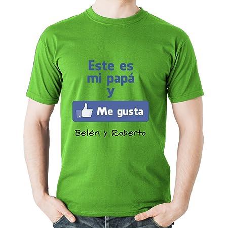 Calledelregalo Regalo para Padres por su cumpleaños, Navidad o el Día del Padre: Camiseta Personalizada Verde Me Gusta con su Nombre y el de Sus ...