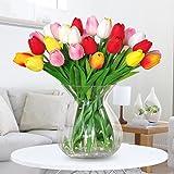 Amkun, 10 fiori tulipani finti in similpelle, realistici, bouquet finto che sembra vero per casa, cucina, salotto, sala da pranzo, matrimonio, decorazione, centrotavola Red