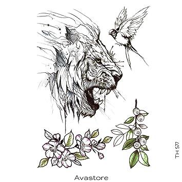 Avastore - Tatuaje temporal, diseño de león de esquisse: Amazon.es ...