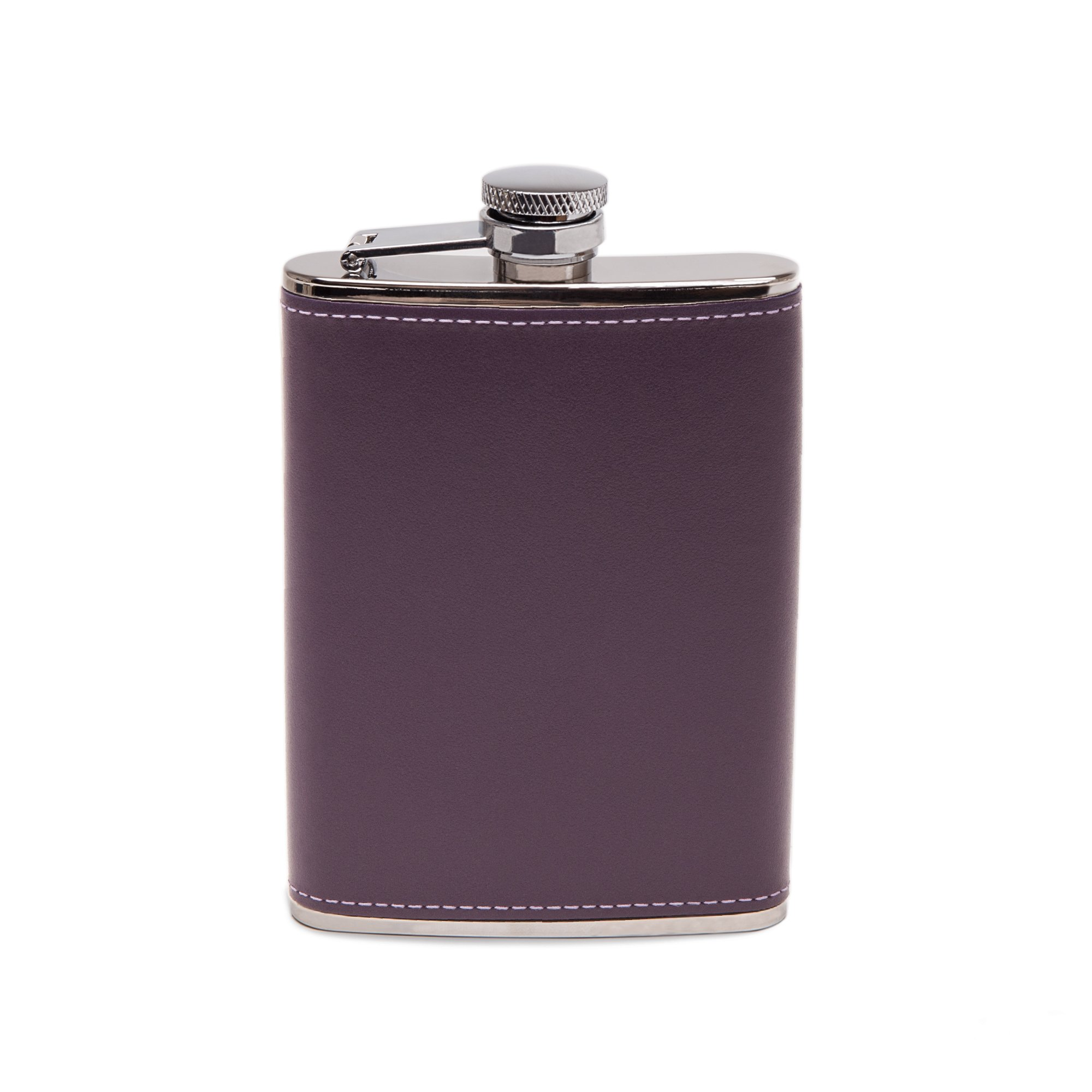Ettinger Sterling Collection Captive Top Leather Bound Hip Flask, 6 Ounces - Purple/Silver