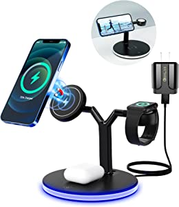3 in 1 Magnetic Wireless Charging Station, Fast Wireless Charger Stand 15W for iPhone 12/Pro/Mini/Pro Max, Apple Watch 2/3/4/5/6, Airpords 2/Pro, with QC3.0 Adaptor/LED Light, Qi-Certified