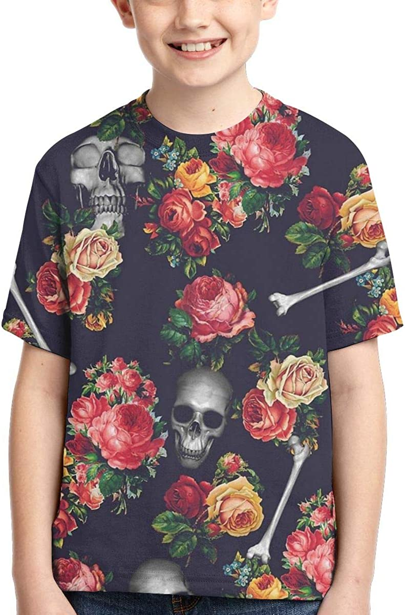 Boys Short Sleeve Skull Bones and Floral Pattern Kids Children 3D T Shirts Teenagers Tee Tops