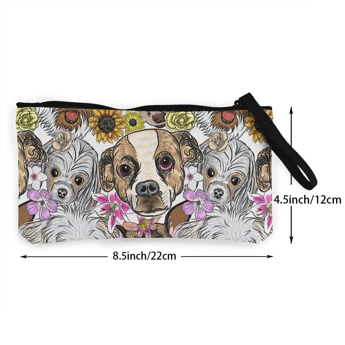 Girls Canvas Coin Wallet Zipper Small Purse Wallets Cute Dogs Pattern