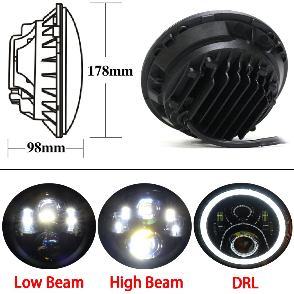 7 inch Round led Motorcycle headlight Hi//Low Beam With RGB Angel eye Bluetooth Controlled for Motorcycle Headlamp Black