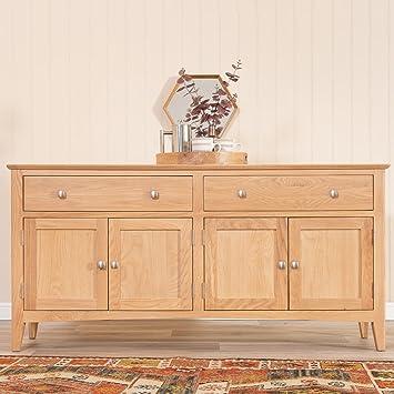 The Furniture Outlet Malvern Shaker Oak 4 Door Extra Large Sideboard