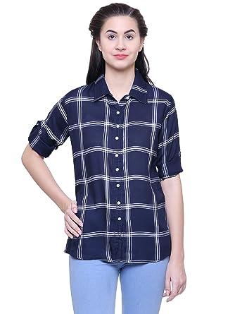 09d97be7fb819 Fashion Village Dark Blue Checkered Shirt for Women s Girls  Amazon ...