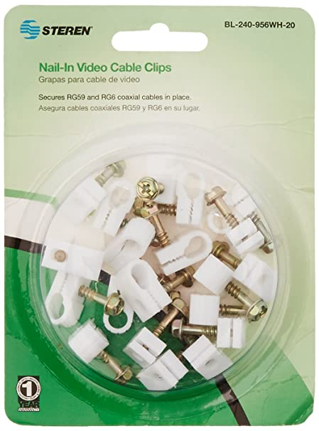 Steren Nail in Video Cable Clips (20 pack)