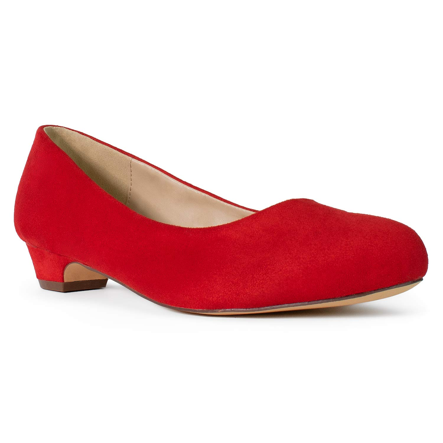Red Su (Extra Wide. One Full Size Larger Than Regular Fit) RF ROOM OF FASHION Women's Wide Fit Kitten Low Heel Extra Cushion Pumps Flats (True Wide Width)