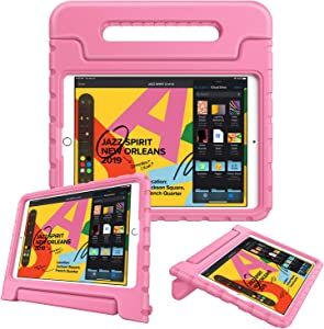 "Fintie Kids Case for New iPad 8th / 7th Generation, iPad 10.2 Inch 2020 / 2019 Case - Shockproof Light Weight Handle Stand Case, Compatible with iPad Air 3 10.5"" 2019 & iPad Pro 10.5"" 2017, Pink"