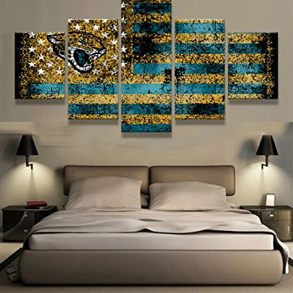 56f60d1e PEACOCK JEWELS [Large] Premium Quality Canvas Printed Wall Art Poster 5  Pieces / 5 Pannel Wall Decor Jacksonville Jaguars Sports Flag Logo  Painting, ...