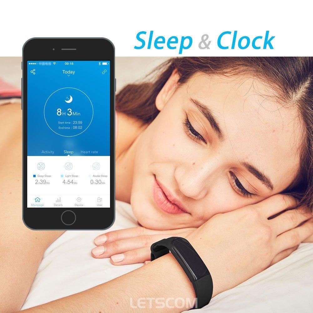 Amazon.com : Fitness Tracker, LETSCOM Heart Rate Monitor Activity Tracker Pedometer Watch Step/Sleep/Calorie Counter Smart Watch Bluetooth 4.0 Waterproof ...