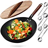 """Wok Pan, Woks and Stir Fry Pans with Wooden Lid, 13"""" Carbon Steel Woks with Wooden Handle, Frying Pan for All Stoves, Flat Bo"""