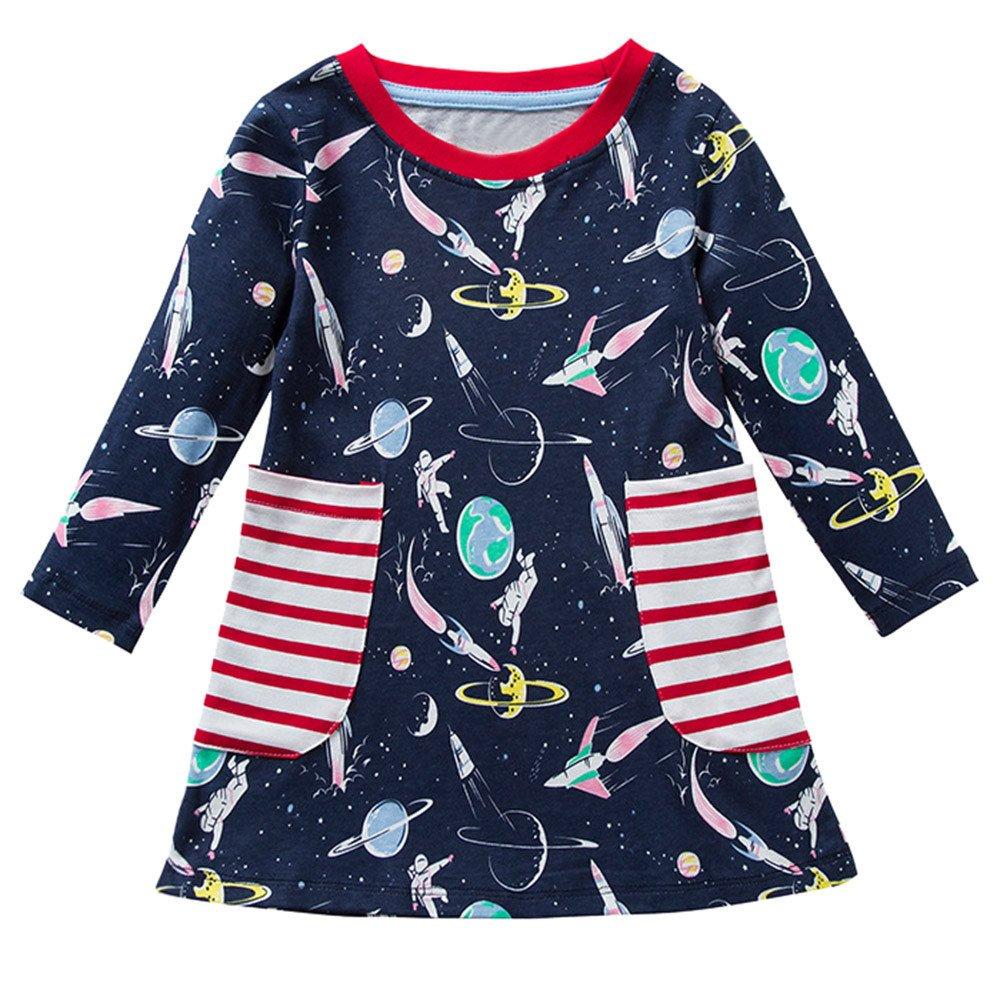 Happy-day Ropa para niños, (24M-7T) Vestido de Bolsillo con Estampado de Cohete Espacial de Manga Larga para niños