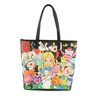 Amazon.com  Loungefly Alice in Wonderland Tote Bag Black-Multi  Shoes 8cdc0a71c8fff
